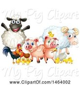 Swine Clipart of Happy Group of Farm Animals by Graphics RF