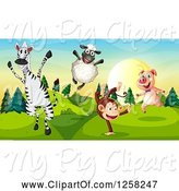 Swine Clipart of Happy Monkey Zebra Sheep and Pig in a Park by Graphics RF