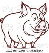 Swine Clipart of Happy Outlined Pig 1 by Vector Tradition SM