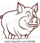 Swine Clipart of Happy Outlined Pig 2 by Vector Tradition SM