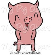Swine Clipart of Happy Pig by Lineartestpilot