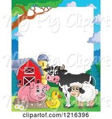 Swine Clipart of Happy Pig Cow Duck and Sheep by a Mud Puddle Border by Visekart