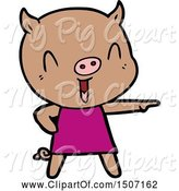 Swine Clipart of Happy Pig in Dress by Lineartestpilot