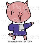 Swine Clipart of Happy Pig in Winter Clothes by Lineartestpilot