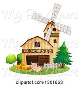 Swine Clipart of Happy Pig Leaping by a Barn and Windmill by Graphics RF