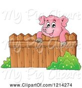 Swine Clipart of Happy Pig Looking over a Fence by Visekart