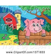 Swine Clipart of Happy Pig over a Fence, near a Barn and Silo by Visekart