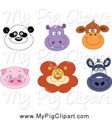April 21st, 2014: Swine Clipart of Happy Pig Panda Hippo Monkey Lion and Zebra Faces by Yayayoyo
