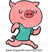 Swine Clipart of Happy Pig Running by Lineartestpilot