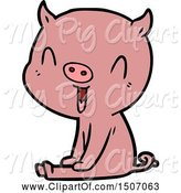 Swine Clipart of Happy Pig Sitting by Lineartestpilot