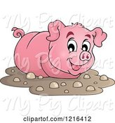 Swine Clipart of Happy Pig Wading in Mud by Visekart