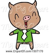 Swine Clipart of Happy Pig Wearing Shirt and Tie by Lineartestpilot