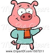 Swine Clipart of Happy Pig Wearing Warm Clothes by Lineartestpilot