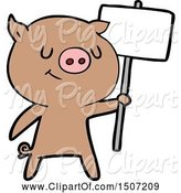 Swine Clipart of Happy Pig with Placard by Lineartestpilot