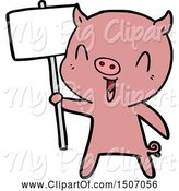 Swine Clipart of Happy Pig with Sign Post by Lineartestpilot