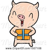 Swine Clipart of Happy Pig with Xmas Present by Lineartestpilot