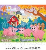 Swine Clipart of Happy Pigs in a Barnyard by Visekart