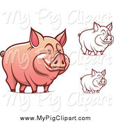 Swine Clipart of Happy Pigs in Color and Outline by Vector Tradition SM