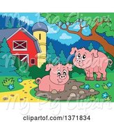 Swine Clipart of Happy Pigs Playing at a Mud Puddle, near a Barn and Silo by Visekart