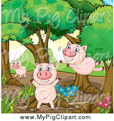 Swine Clipart of Happy Pigs Playing in the Woods by Graphics RF