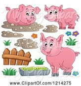 Swine Clipart of Happy Pigs with Mud a Fence and Slop by Visekart