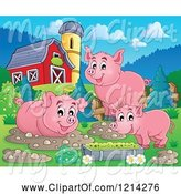 Swine Clipart of Happy Pigs with Mud Puddles and Food in a Barnyard by Visekart