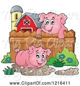 Swine Clipart of Happy Pigs with Mud Puddles in a Barnyard by Visekart