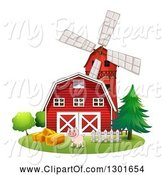 Swine Clipart of Happy Pink Pig by a Red Barn and Windmill by Graphics RF
