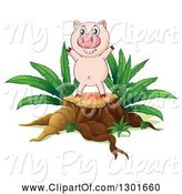 Swine Clipart of Happy Pink Pig Cheering on a Tree Stump by Graphics RF