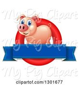 Swine Clipart of Happy Pink Pig in a Red Circle with a Blank Blue Banner by Graphics RF