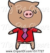 Swine Clipart of Happy Smart Pig by Lineartestpilot