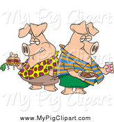 Swine Clipart of Hogs Pigging out by Toonaday