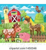Swine Clipart of Horse, Pig, Cow and Chicken in Front of a Red Barn and Silo in the Spring or Summer by Visekart