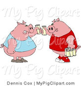 Swine Clipart of Human-like Fat Pigs in Tank Tops Toasting Beers Against Each Other by Djart
