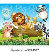Swine Clipart of King Lion on a Log, Talking to Other Animals by Graphics RF