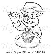 Swine Clipart of Lineart Chef Pig Holding a Cupcake on a Tray and Gesturing Okay by AtStockIllustration