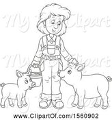 Swine Clipart of Lineart Female Farmer Tending to Her Pigs by Alex Bannykh
