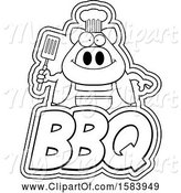 Swine Clipart of Lineart Grilling Chef Pig Holding a Spatula over Bbq Text by Cory Thoman