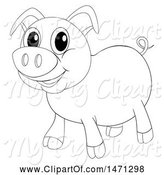 Swine Clipart of Lineart Pig by Graphics RF
