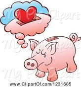 Swine Clipart of Lonely Piggy Bank Daydreaming of a Heart by Zooco