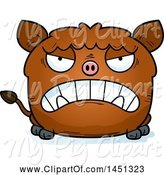 Swine Clipart of Mad Cartoon Boar Character Mascot by Cory Thoman