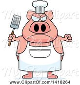Swine Clipart of Mad Cartoon Chef Pig Holding a Spatula by Cory Thoman
