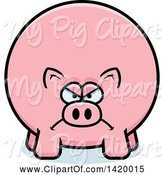 Swine Clipart of Mad Cartoon Chubby Pig by Cory Thoman