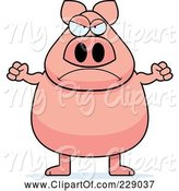 Swine Clipart of Mad Cartoon Pig by Cory Thoman
