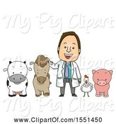 Swine Clipart of Male Livestock Veterinarian with a Cow, Horse, Chicken and Pig by BNP Design Studio