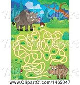 Swine Clipart of Maze with Wild Boars by Visekart