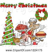 Swine Clipart of Merry Christmas Greeting over a Cow Holding Ribs, Chicken Carrying a Pulled Pork Sandwich and Pig Carrying a Roasted Chicken by LaffToon