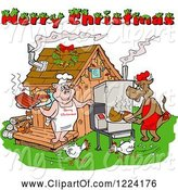 Swine Clipart of Merry Christmas Greeting over Chickens a Cow and Pig Using a Smoker at a Bbq Shack by LaffToon