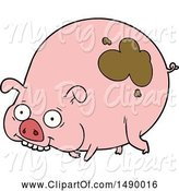 Swine Clipart of Muddy Pig by Lineartestpilot