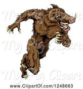 Swine Clipart of Muscular Aggressive Boar Mascot Running Upright by AtStockIllustration